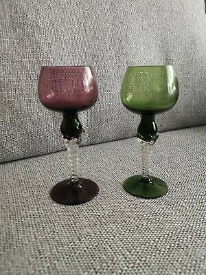 Stunning 1 Green & 1 Red Drinking Glasses With Twisted Clear Stem • 0.99£