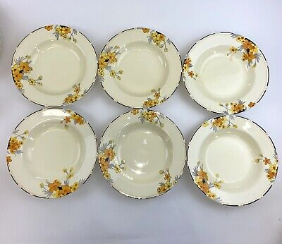 Set Of 6 Crown Ducal Sunburst Soup Bowls - 9 Inches - Stunning • 74.99£
