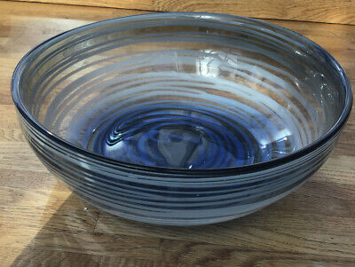 Large Heavy Czech Glass Bowl In Clear And Blue • 17.99£