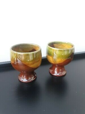 2x  Vintage Glazed Handpainted Brown Green Pottery Small Goblets  • 15£