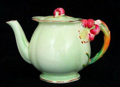 Royal Winton Art Deco Flower-handled Teapot, Green, Pink Tiger Lily Handle • 19.95£