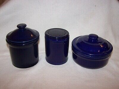 Set Of Three Cobalt Blue Kitchen Lidded Pots In Excellent Condition • 6.99£