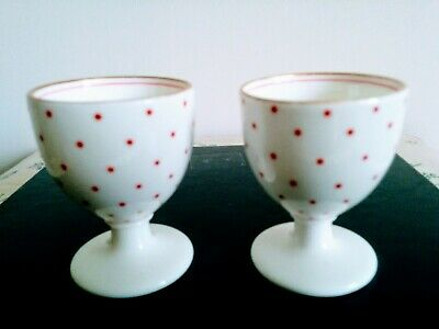 TWO X VINTAGE  PORCELAIN EGG CUPS WHITE WITH PINK POLKA DOTS - NUMBER ON BASE • 6.75£