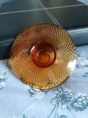 Amber Coloured Glass Posy Bowl / Candle Holder • 7.50£