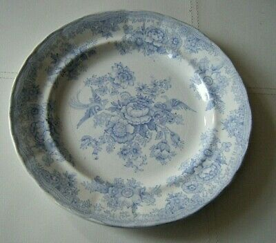 Antique Asiatic Pheasant Blue And White Plate C 1861-80. Henry Alcock. • 9.99£