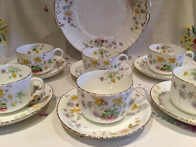 *6 Pretty Vintage Ditsy Floral Cups And Saucers With Cake Serving Plate Tea Set* • 23.50£