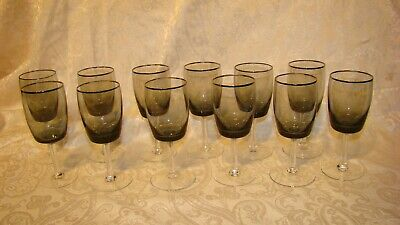 VTG Midnight Mist (Smoke)  Gorham Wine Glasses Platinum Trim 5 3/4 In Lot Of 12 • 26.15£