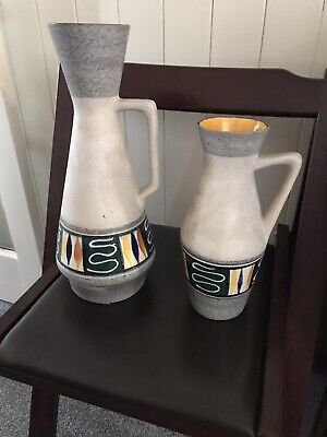 2 Ceramic 1960's West German Made Vases, Grey With A Little Coloured Detail • 10£