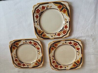 Vintage Ivory England Floral Pattern Square Side Plates X 3 • 2.99£