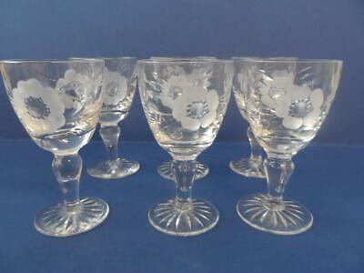 Crystal Cut Glass Flower Etched 6 X Sherry / Aperitif Glasses • 9.99£