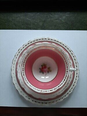 Stunning New Chelsea Staffs Pink Trio Cup Saucer And Side Plate • 12.99£
