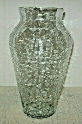 Vintage Crackle Glass Vase, 13  Tall, Clear With Silver Crackle   • 11.26£