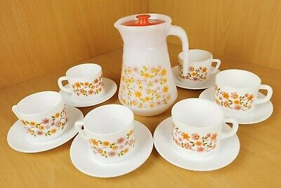 Vintage Pyrex Arcopal Tea Set / 6 X Cups And Sauces / French Jug With Lid • 29.95£