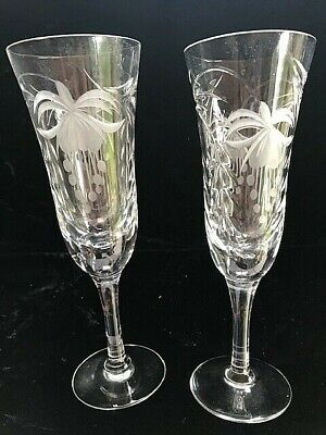 2 X ROYAL BRIERLEY FUCHSIA CRYSTAL CHAMPAGNE GLASSES BOXED (more Available) • 60£