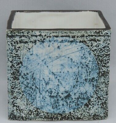 Troika Pottery Pot Of Cube Form, Each Face With Four Blue Circles On Stipple ... • 150£