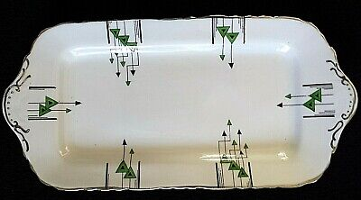 Sutherland  Art Deco Green Black Silver 11 Inch Sandwich Rectangle Plate Tray  • 14.99£