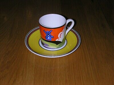 Amazing Hand Painted Clarice Cliff Windmill Design Cup And Saucer Must See • 18£