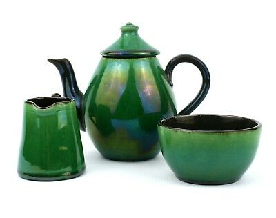 Early 20th C. Bachelors Tea Set Green Iridescent Glaze 3 Pieces West Country • 34.99£