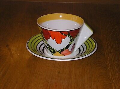 Amazing Hand Painted Clarice Cliff Honolulu  Design Cup And Saucer +c O A  Mint • 32£