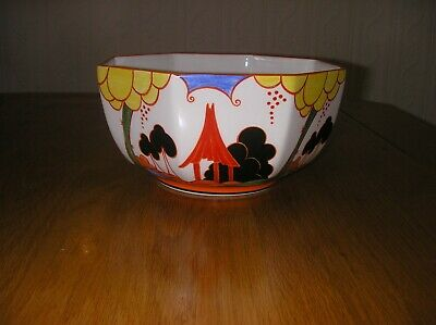 Amazing Hand  Painted Clarice Cliff Bizarre Sumerhouse Fruit Bowl+box +c O A • 120£