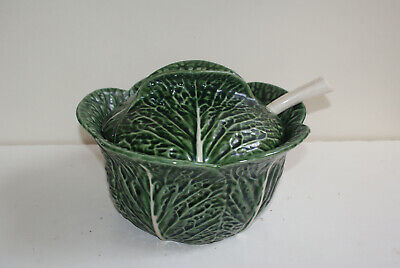 Vintage SUBTIL Portugal Majolica Cabbage Large Size Soup Tureen With Spoon • 27.99£
