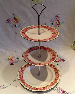 💕 Gorgeous Royal Doulton 💕 Pink Rose Tea Set Cake Plate Stand 💕 • 17.99£