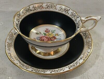 Royal Stafford Bone China Tea Cup And Saucer Roses Design On Black And White. • 19.99£