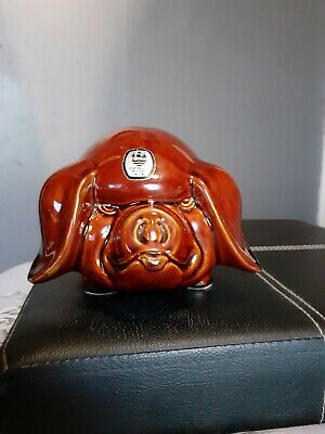Vintage Brown Piggy Bank Money Box Angry Pig Dartmouth Pottery Devon-Collectible • 25£