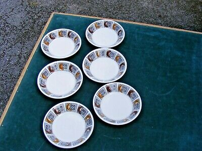 Vintage 1960s Pottery Kathie Winkle Kimberley Orange Brown Small Dishes X 6   • 8£