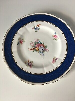 Crown Staffordshire Blue And Gold Floral Plate - 1906-1930 • 3£
