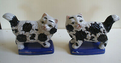 Pair Of Antique Staffordshire Mantel White Black Cats On Blue Stands • 27£