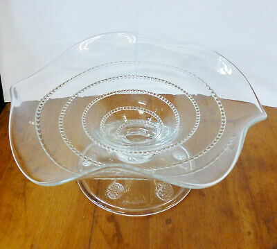 Stunning Juliska AMALIA Blown Glass Spiral Thread Fluted Tazza Comport Dish • 100£