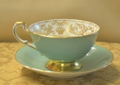Paragon Gilt Edge & Foot Teal Green Cup Saucer With Gold Bouquet Of Flowers D176 • 24£