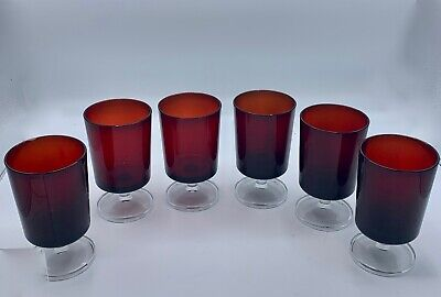 Lot 6 Luminarc Ruby Red Cavalier Wine Water Glasses Goblet Clear Pedestal France • 19.28£