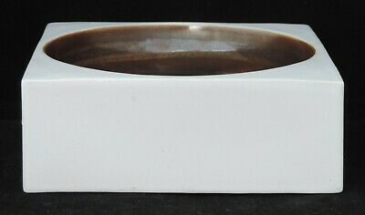 Troika Square Bowl - White With Brown Bowl - Signed Anne Lewis • 150£