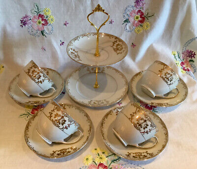 *4 Beautiful Vintage Ivory And Gold Tea Set Cups + Saucers With Mini Cake Stand* • 15.50£