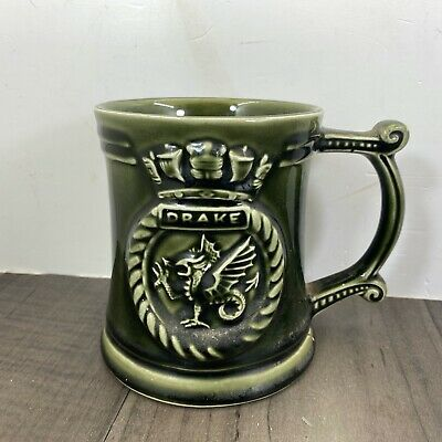 Authentic Vintage Drake Motif Devonway Green Glazed Pottery Tankard Rare • 25.99£