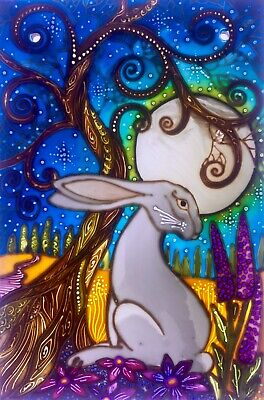 Moon Gazing Hare Hand Painted Stained Glass Style Panels And  Splashbacks • 45£