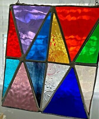 Stained Glass Tiffany Panel  - Colourful Triangles • 24.99£