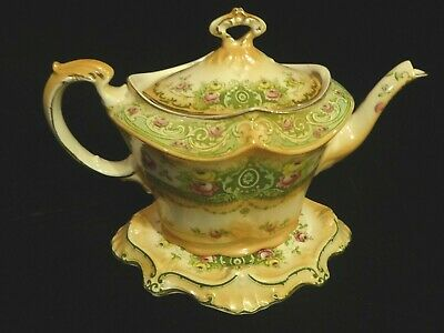 Victorian F & S England Lynton Ware Teapot And Stand Floral And Geometric Design • 48£