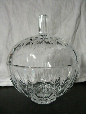 Pretty PUMPKIN SHAPED GLASS COVERED 7  CANDY DISH  • 14.99£
