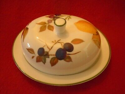 Royal WORCESTER EVESHAM VALE LIDDED BUTTER / CHEESE DOME RARE ITEM • 32.99£