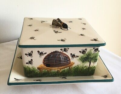 Vintage Griselda Hill Pottery Wemyss Ware Beehive Pot And Tray Covered With Bees • 43.88£