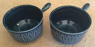 2 X VINTAGE Ceramic Blue Soup Cup / Bowls With Handles TAMS Pottery England • 6£