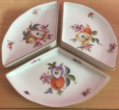 Herend Hungary Fruits And Flowers 3 Piece Dish Set Stunning  • 14.99£