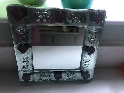 Vintage Signed Jo Downs Hearts Handmade Fused Glass Mirror • 70£