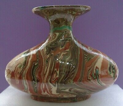 Beautiful Large Early Agate Ware Pottery Flared Neck Vase • 45£