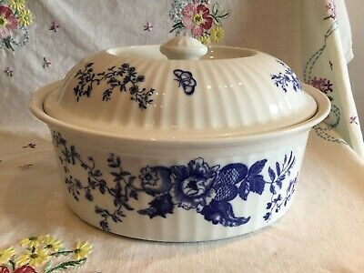 *excellent Royal Worcester Rhapsody Blue Floral Large Lidded Casserole Dish* • 12.50£