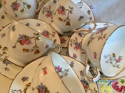 *5 Beautiful Vintage Royal Stafford Violets Pompadour Tea Set Cups And Saucers* • 22.50£