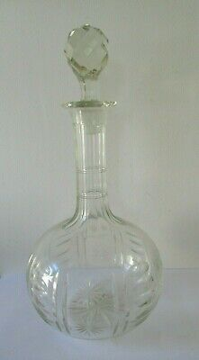 Antique 19th Century Cut Glass Onion Decanter With Starburst Pattern. • 22.95£